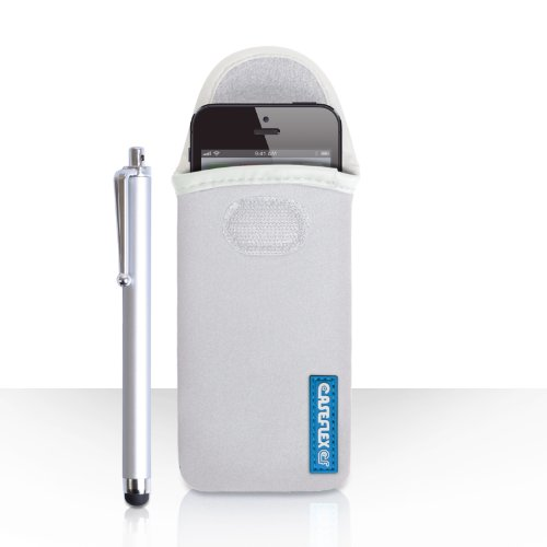 iPhone 5S Tasche Weiß Neopren Beutel Hülle Mit Caseflex Logo Und Griffel Stift