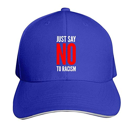 Brniogn Adult Premium Sun Hats Cool Just Say No to Racism Printed Basketball Sport Trucker Snapback Cap Blue