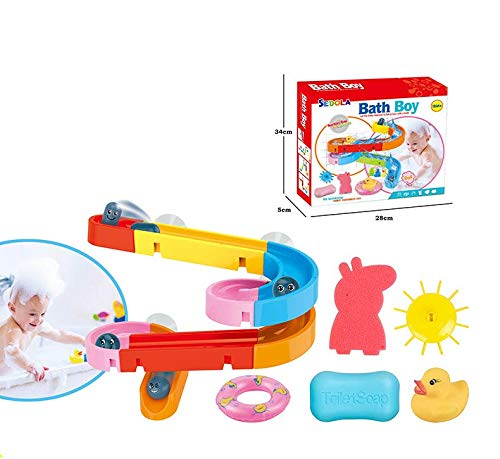 HengYan Bath Toys Slides Water Polo Tracks Bar Wall Bathtub Suitable for Childrens DIY Waterfall Tubes and Tubes Bath Toys with Suction Cups Childrens Gifts Boys and Girls