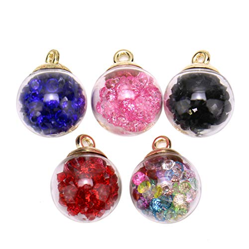 JETEHO 20Pcs Charms Glass Ball with Rhinestone Beads Pendant Craft Accessory for DIY Earrings Charms Necklace Bracelet (Shiny Crystal Earrings)