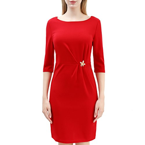 Silk Pleated Sheath Dress (HRMSIUKB Women's Dresses for Work Office 3/4 Sleeve Pleated Front Bodycon Business Dress(XX-Large, Red))