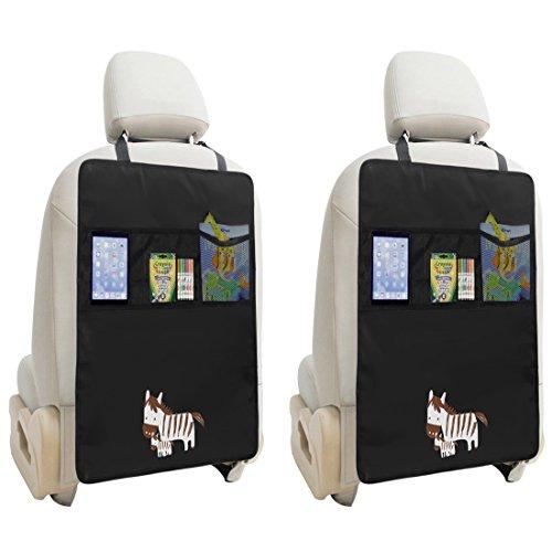 [2 Stück] Autositz Rückenlehnenschutz, Rücksitz-Organizer mit iPad Fach-Wasserdichte Autositz Schoner Autositz Veranstalter Auto Rückenlehnenschutz Kick-Matten (Zebra)