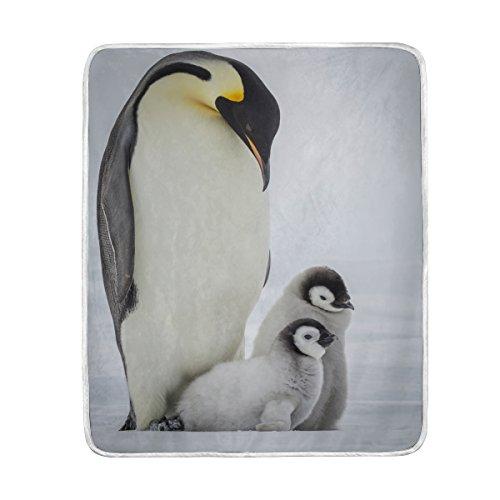 ALAZA Adult Emperor Penguin Two Chicks Plush Throws Siesta C