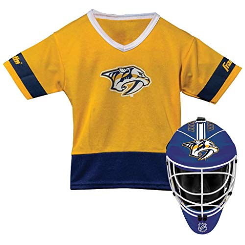 Franklin Sports Nashville Predators Kid's Hockey Costume Set - Youth Jersey & Goalie Mask - Halloween Fan Outfit - NHL Official Licensed Product