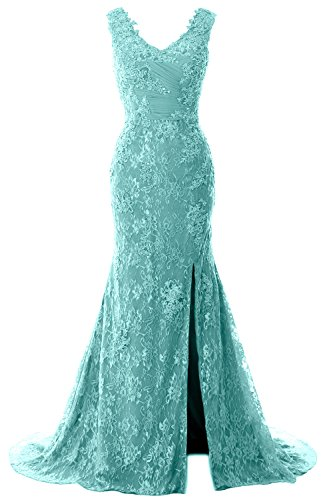 Formal Evening V MACloth Party Wedding Neck Turquoise Gown Lace Dress Mermaid Women Straps wTI6xqRT