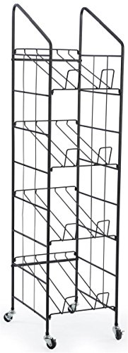 Displays2go TR4T52BK Rolling Newspaper Rack 4-Tiered Magazine Stand
