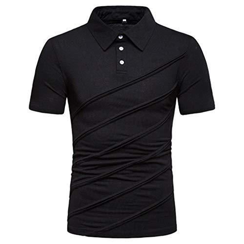 Lookatool T Shirts Polo Tops Blouse DryBlend Jersey Sport Shirt Men's Short Sleeve Polo Mens Fashion Polo Shirts Casual Slim Fit Basic Sport Polo T-Shirts XS Black ()