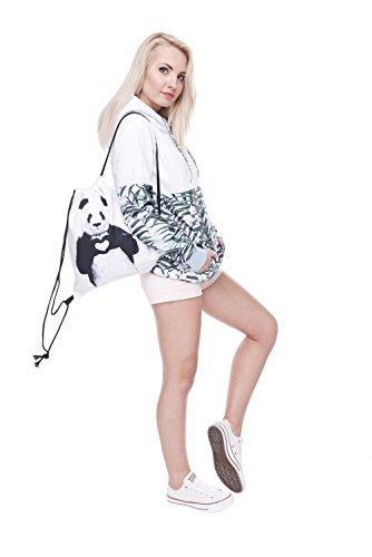 Fringoo Jungen Mädchen Teenager Kordelzug Tasche Schule Rucksack Schulter Sporttasche, Reisebeutel Mehrfarbig Emoji King Holo H40 x L33 cm Panda Heart