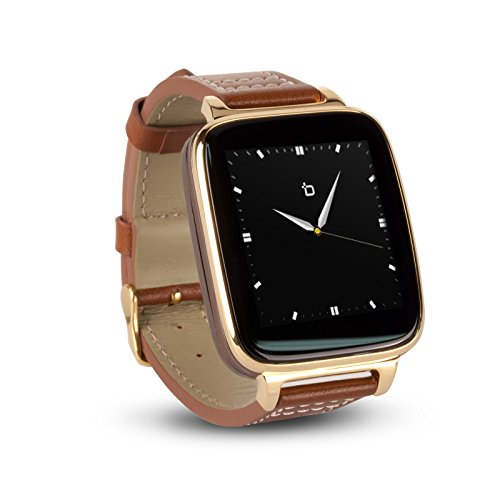 Bit Smart Watch for Apple/Android phones. 8GB of Music Storage. Gold with leather strap.