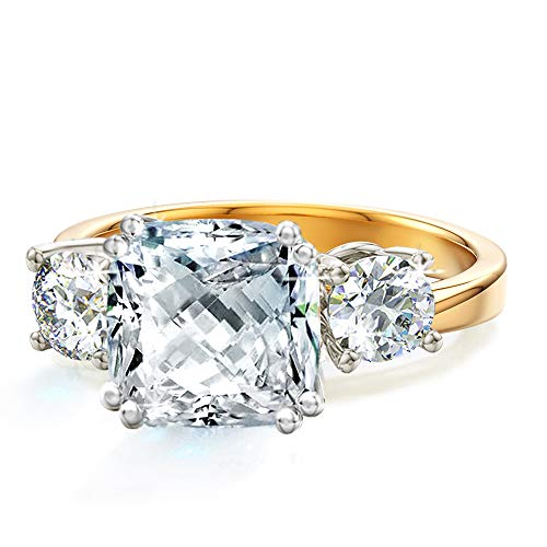 Samie Collection Meghan Markle Engagement Rings Inspired by Royal Wedding: 3.67ctw 3 Stone Cubic Zirconia & Simulated Gemstone Promise Ring: 18K Yellow Gold, 18K Rose Gold & Rhodium Plating, Size 5-10 from Samie Collection