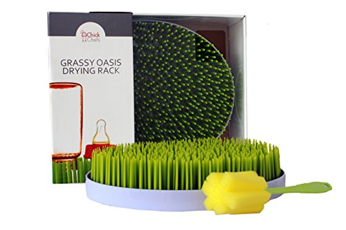 Bottle Oval Top Wine Rack - Grassy Oasis Countertop Drying Rack by ChickChefs- Quick, Easy Drying of Baby Bottles and Accessories, Cups, Glasses - BPA Free - BONUS Bottle Brush Included