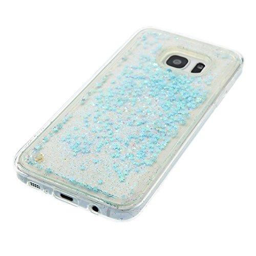 Funda Samsung Galaxy S7 Edge Púrpura Bling Arena Movediza Lentejuelas Concha Blanda,Moon mood® 3D Moda Fluido Líquido Quicksand Estrellas Case Cubierta para Samsung Galaxy S7 Edge SM-G9350 Silicona Sl Plata