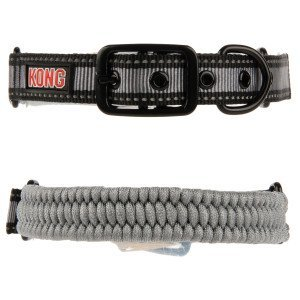 KONG Paracord Reflective Dog Collar - Grey