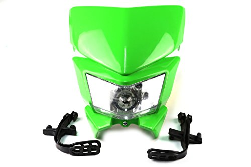 Motorcycle Head Lights Headlights Headlamp with LED Turning Light for Kawasaki KLX250 KLX110 KX65 KX85 KX500 Motorcycle Green Rubber Cylinder Head Mount