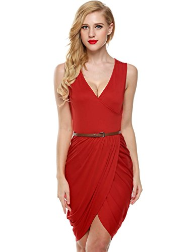 Elesol Women Faux Wrap High Slit Ruched Cocktail Party Dress with Belt Red S