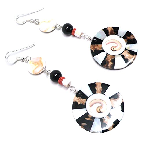 Shell Inlay Statement Earrings Coral Black Pink Sterling Silver