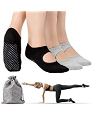 Tusscle Calcetines Yoga, 2Pcs Y 4Pcs Pilates Calcetines Antideslizantes Mujer pour Yoga, Pilates, Ballet,Fitness Antideslizantes [Negro + Gris, M (35-41)]