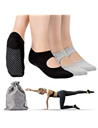 Tusscle Yoga Socks for Women, 2 Pairs Non-Slip Socks with Grips Ideal for Yoga, Pilates, Barre,Ballet,Dance and Sports for Home & Body Balance