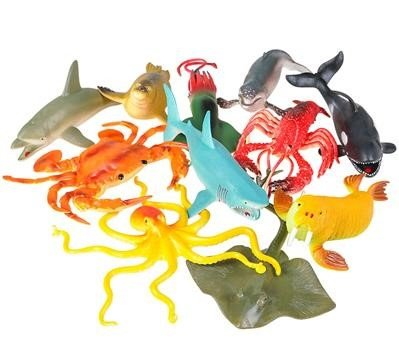 Neliblu 7 Realistic Jumbo Aquatic Sea and Ocean Animals, for Educational Purposes, Party Favors, Party Decorations, Sensory Toys, Fishing Games & Cake Decorating