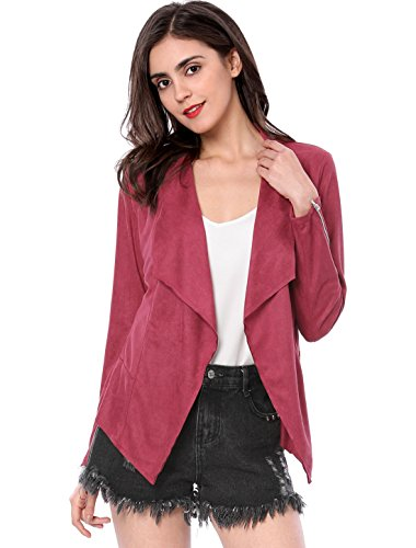 Allegra K Women's Zipper Draped Front Moto Faux Suede Jacket Purple Red XL (US 18)