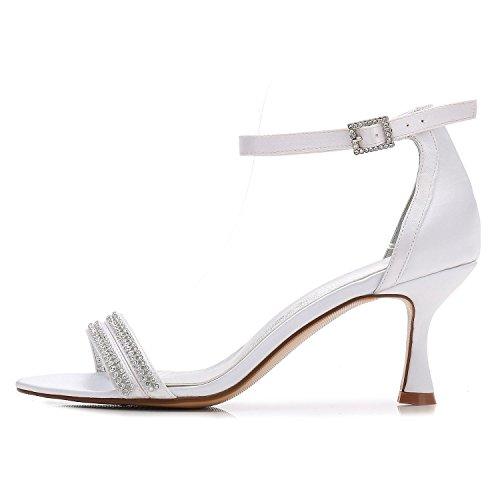 L@YC Zapatos De Boda De Las Mujeres F17061-61 Confort Rhinestone Basic Pump Zapatos De La Boda De La Plataforma De Raso Personalizados Blue