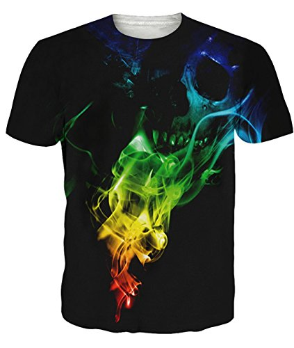 661acbc8d808c Idgreatim Mens Casual 3D Printed Skull Smoke T Shirt Short Sleeve Graphic  Tees XL