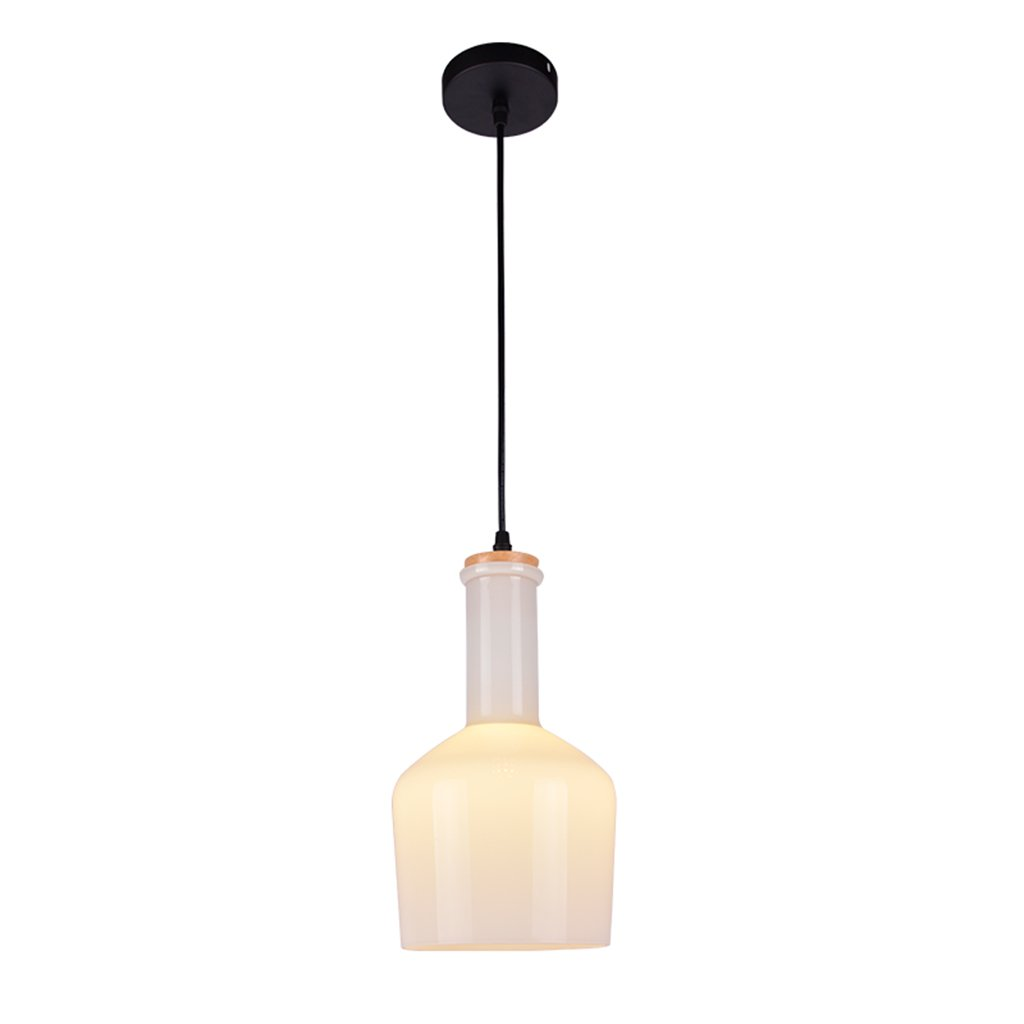 Lighting chandelier glass wrought iron wood E27 1 restaurant bar living room bedroom clubhouse white jar chandelier creative modern idea Nordic A+ ( Size : A )