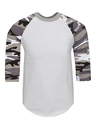 RA0145_2X Baseball T Shirts Raglan 3/4 Sleeves Tee Cotton Jersey S-5XL White/Grey Camo 2X (Camo Camouflage Raglan T-shirt)