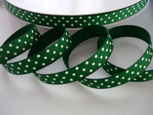 50 yards Hunter green/white Swiss Polka Dots Grosgrain 3/8