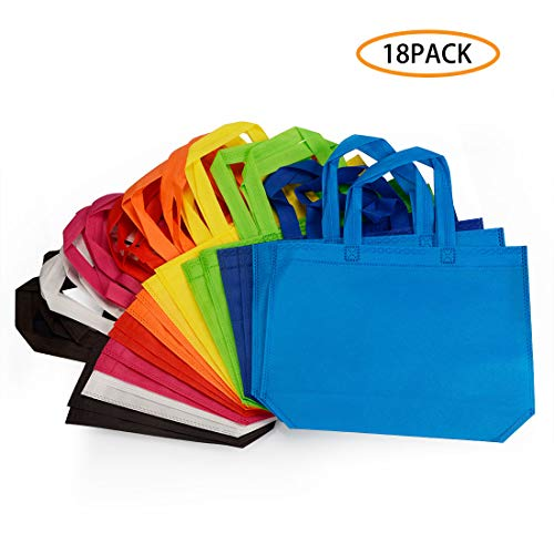 (18 Pack Party Gift Tote Bag, 10 x13 Inch Non Woven Gift Tote Bags with Handles for Birthday Favors, Snacks, 9 Colors)