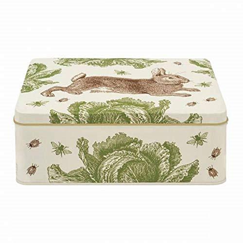 - Thornback and Peel Rectangular Storage Caddie Tin in Rabbit and Cabbage Design - Made in UK
