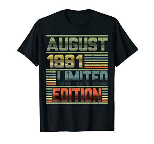 August 1991 28th Birthday Gift 28 Years Old T Shirt