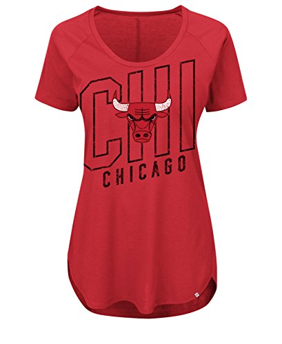 NBA Chicago Bulls Women's Fanatic Force Short Sleeve Scoop Neck Tee, XX-Large, Athletic Red