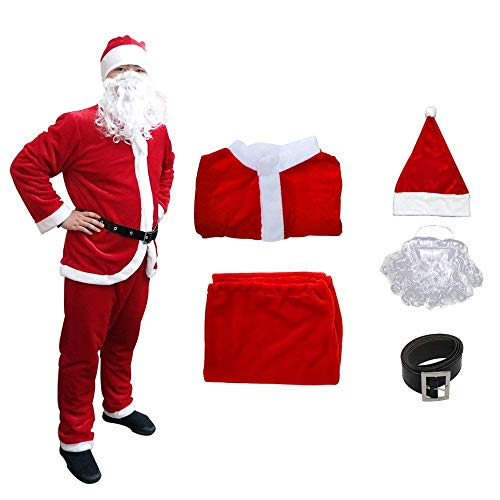 Christmas Santa Claus Suit, Adult Men's Santa Costume with Beard (red)