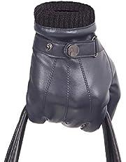 Touchscreen PU Leather Glove Men - Christmas Warm Winter Driving/Fleece Lining