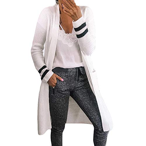 Tricot Cardigan Malloom Femmes Chic Tricot Tops Costume  Manches Longues Kimono Couverture De Mode Smock Long Cardigan Blanc