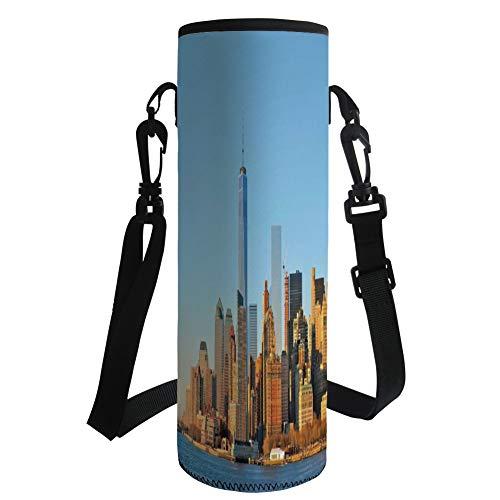 iPrint Water Bottle Sleeve Neoprene Bottle Cover,Landscape,New York City Skyline USA Landmark Buildings Skyscrapers Modern Urban Life,Light Blue Orange,Fit for Most of Water Bottles by iPrint