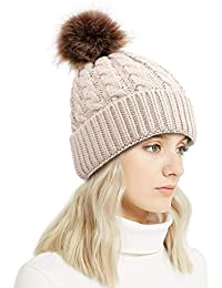 Winter Rib-Knit Beanie Chunky Baggy Hat for Women Snow Cable Knit Skull Ski  Cap 2dc2ce476957