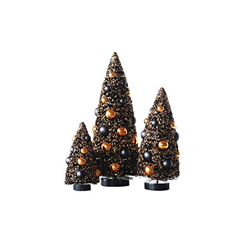 Creative Co-Op Sisal Bottle Brush Halloween Trees with Ornaments (Set of 3 Sizes) -