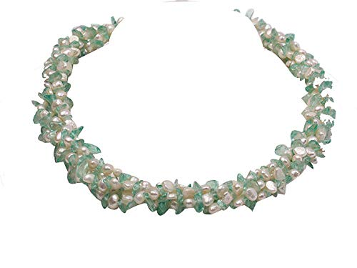 - JYX Pearl Triple Strand Necklace 5-6mm Natural White Flat Freshwater Pearl with Blue Crystal Chips Necklace