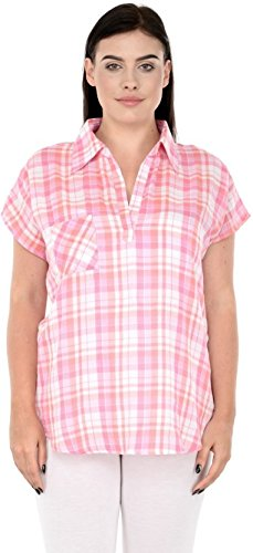 ee0629497ad Image Unavailable. Image not available for. Colour  Qurvii Casual Check Strips  Shirt Top for Women