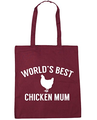 mum x38cm Tote Gym Beach 10 Bag litres 42cm chicken World's best HippoWarehouse Shopping Burgundy qRtTvAW