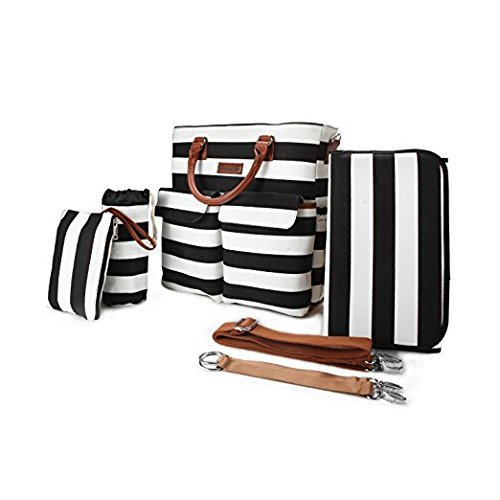 Nappy Bucket - 6pcs Baby Diaper Bags Set,Large Capacity,Primebabe Striped Nappy Tote Stroller Bags Organizer for Baby Care, Moms, Girls, Black with Changing Pad,Durable and Stylish