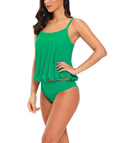 AOVXO Tankini Swimsuits for Women 2 Piece Flared Swimwear Tankini Top with High Waisted Triangle (Green, US8~10)
