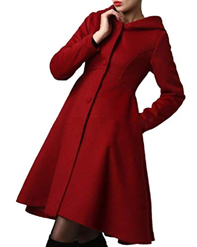 Andopa Womens Classic Travel Safari Flare Hem Knee Length Overcoat Wine Red L