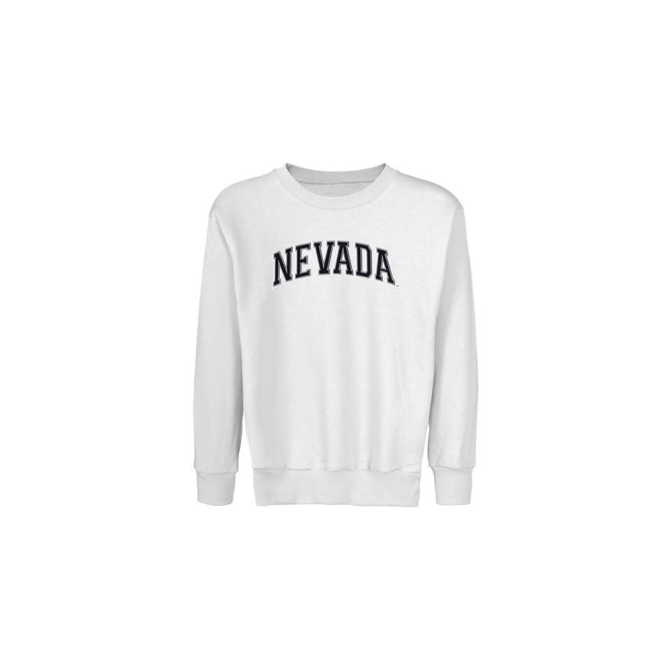 Nevada Wolf Pack Youth White Arch Applique Crew Neck Fleece Sweatshirt