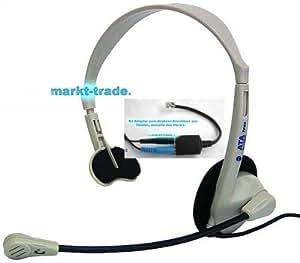 Teléfono Auriculares para Callcenter con Adaptador Occidental RJ14/ RJ10 Teléfono