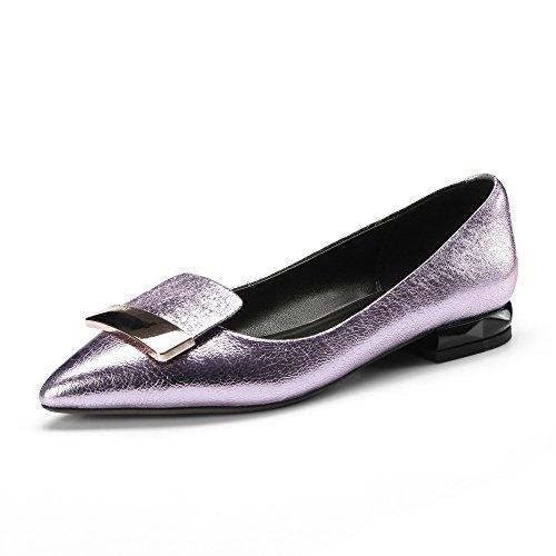 Puntiagudo de Profundas Sandalias Cuero Decorativas Metal Mujeres Las Rosa Planas Zapatos de de Poco A4w0qdq