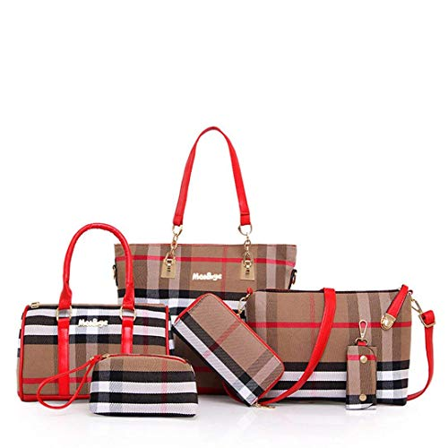 - wewo 6 Pcs/Set Women Handbag Zip Lady Large Shoulder Bag Tote Handbags For Ladies Canvas Satchel Bag Plaid Crossbody Bag Fashion Purse Multiuse Clutch (Red)