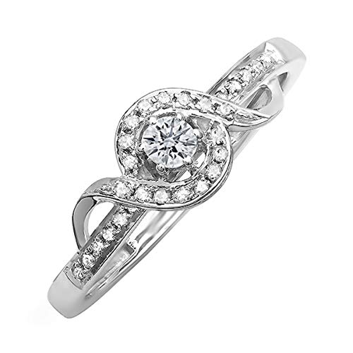 Dazzlingrock Collection 0.17 Carat (ctw) Sterling Silver Round White Diamond Ladies Bridal Promise Ring, Size 8 ()